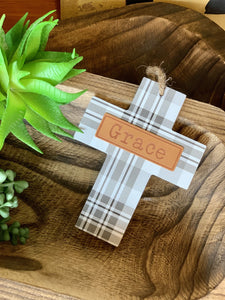 GRACE PLAID WOOD CROSS- GRAY AND WHITE - Infinity Raine