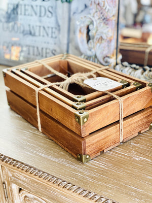 WOOD CRATES SET OF 3-BROWN - Infinity Raine