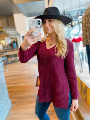 CAN'T DENY IT KNIT SWEATER- BURGUNDY - Infinity Raine