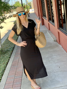 ALL THE ATTENTION WRAP DRESS- BLACK - Infinity Raine
