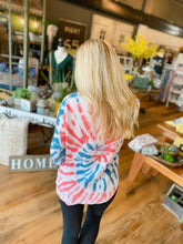 Load image into Gallery viewer, BLUR THE LINES TIE DYE SWEATSHIRT- RED, WHITE, AND BLUE - Infinity Raine