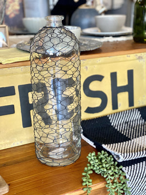 RUSTIC CHARM BOTTLE WITH CHICKEN WIRE-LARGE - Infinity Raine