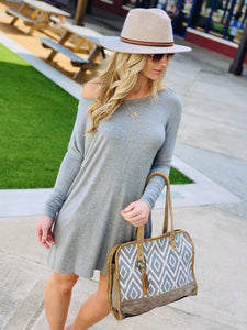 LET'S CHILL T-SHIRT DRESS-HEATHER GREY - Infinity Raine