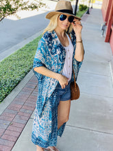 Load image into Gallery viewer, INFLUENCE THE NIGHT BOHEMIAN MANDALA KIMONO-TEAL - Infinity Raine