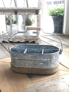RUSTIC FARMHOUSE GALVANIZED METAL CADDY - Infinity Raine