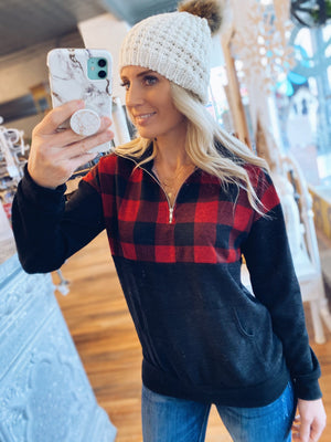 RED BUFFALO PLAID HALF ZIP PULLOVER - Infinity Raine