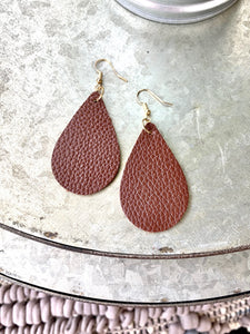 TEARDROP LEATHER EARRINGS-BROWN - Infinity Raine