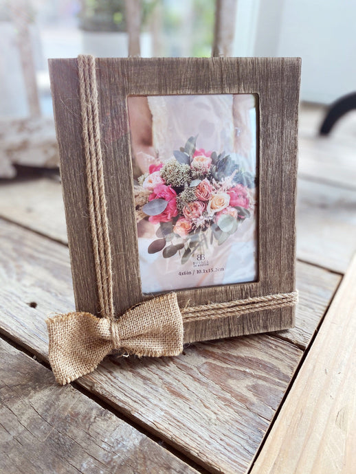 ADORABLE WOODEN PICTURE FRAME WITH A BURLAP BOW