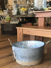 "Load image into Gallery viewer, GALVANIZED METAL ""COLD BEER"" PARTY BUCKET - Infinity Raine"