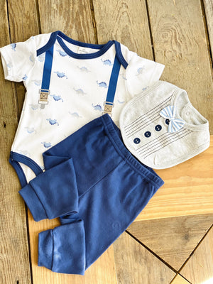 LITTLE BEGINNINGS FAUX SUSPENDERS INFANT BOY-BLUE/GREY - Infinity Raine