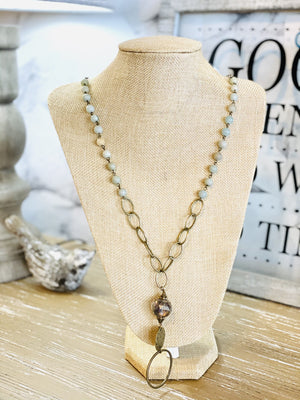 HAPPY MOMENTS CHAIN NECKLACE-BRONZE/MINT - Infinity Raine