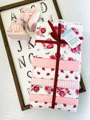 Cuddle Me Set Of 7 Receiving Blankets-Rose - Infinity Raine