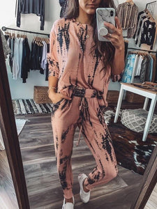 MAKE YOURSELF AT HOME TIE DYE SWEATSHIRT AND PANT SET-PEACH - Infinity Raine