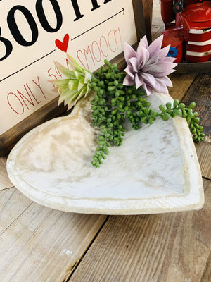 SWEETHEART WOODEN WHITE DISPLAY BOWL-SMALL - Infinity Raine