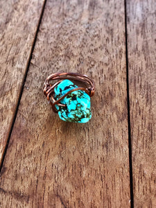STATEMENT BOHEMIAN STONE WIRE RING COPPER/ROUND STONE - Infinity Raine