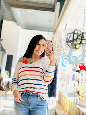 TASTE THE RAINBOW KNIT SWEATER-WHITE - Infinity Raine