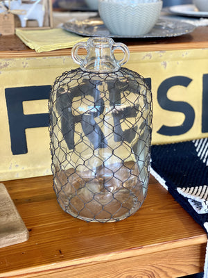 RUSTIC CHARM WINE JUG WITH CHICKEN WIRE - Infinity Raine