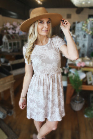 Found My Forever Floral Print Dress-Taupe - Infinity Raine