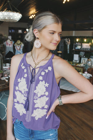Vacation Is Calling Me Embroidered Tank Top-Light Purple - Infinity Raine