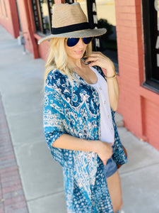 INFLUENCE THE NIGHT BOHEMIAN MANDALA KIMONO-TEAL - Infinity Raine