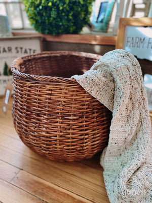 GOING TO MARKET ROUND WICKER BASKET-BROWN - Infinity Raine