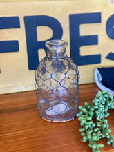 Load image into Gallery viewer, RUSTIC CHARM BOTTLE WITH CHICKEN WIRE-MINI - Infinity Raine