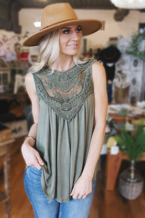 Needless To Say Tank Top-Vintage Olive - Infinity Raine