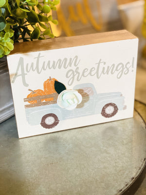 AUTUMN GREETINGS DISTRESSED TRUCK W/FLORAL DETAIL PICTURE - Infinity Raine