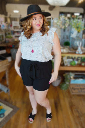 On The Move Plus Size Paperbag Shorts-Black - Infinity Raine