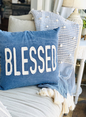 BLESSED THROW PILLOW-BLUE DENIM - Infinity Raine