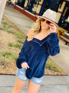 OH SO SOFT CHENILLE KNIT SWEATER-NAVY - Infinity Raine