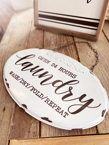 LAUNDRY-WASH, DRY, FOLD, REPEAT METAL SIGN - Infinity Raine