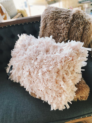 LUSH LOOP SHAG RECTANGLE THROW PILLOW-BLUSH - Infinity Raine