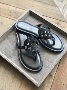 WOMEN'S SLIDE SANDALS-BLACK - Infinity Raine