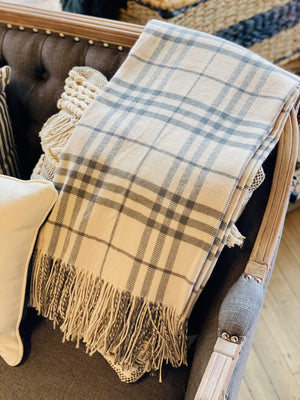 SIT BY THE FIRE DECORATIVE WOVEN THROW-IVORY - Infinity Raine