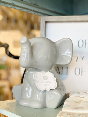 Baby's First Elephant Piggy Bank-Gray - Infinity Raine