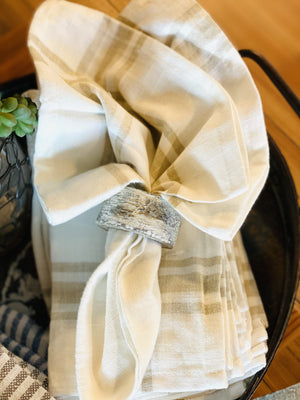 SET YOUR TABLE LINEN NAPKINS- CREAM & TAUPE - Infinity Raine