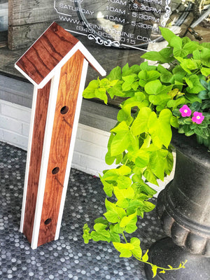 TALL A-FRAME BIRDHOUSE-WHITE/BROWN - Infinity Raine