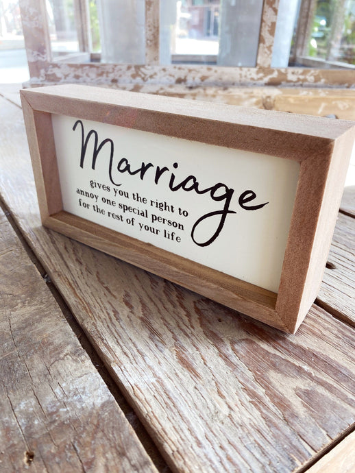 MARRIAGE IS FUN WOOD BOX SIGN