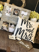 Load image into Gallery viewer, MR. AND MRS. PILLOW WITH FELT LETTERING-CREAM/BLACK - Infinity Raine