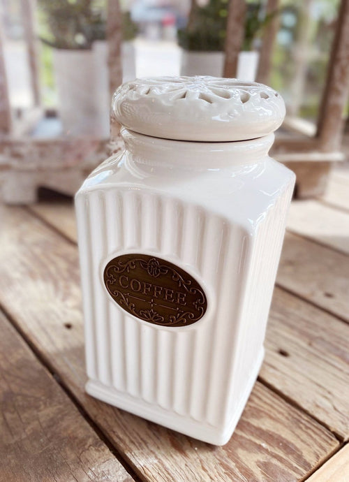 BEAUTIFUL DAY CREAM FLUTED COFFEE CANISTER WITH DECORATIVE LID