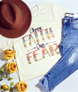 CHOOSE FAITH OVER FEAR TEE-CREAM - Infinity Raine