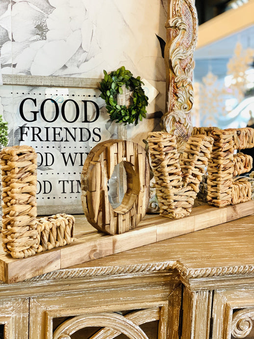 LOVE CUTOUT SIGN- NATURAL WOOD - Infinity Raine