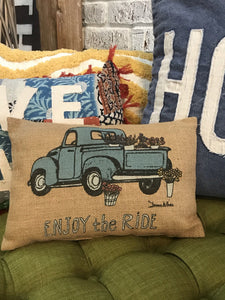ENJOY THE RIDE BURLAP PILLOW - Infinity Raine