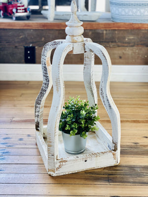 CROWN FARMHOUSE WOOD LANTERN-WHITE - Infinity Raine
