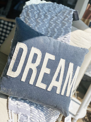 DREAM THROW PILLOW-BLUE DENIM - Infinity Raine
