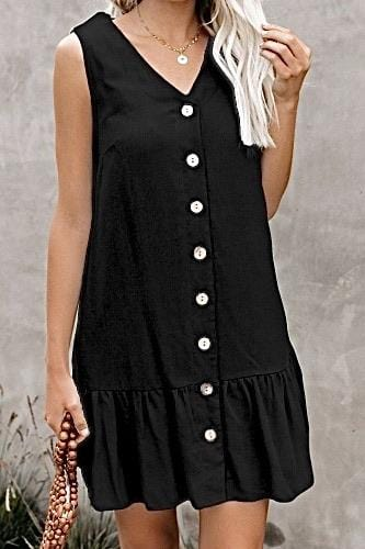 WHAT A DOLL BUTTON DOWN DRESS-BLACK - Infinity Raine