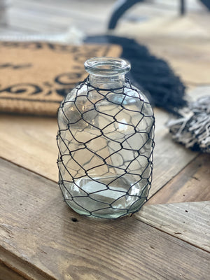 RUSTIC CHARM BOTTLE WITH CHICKEN WIRE-SMALL - Infinity Raine