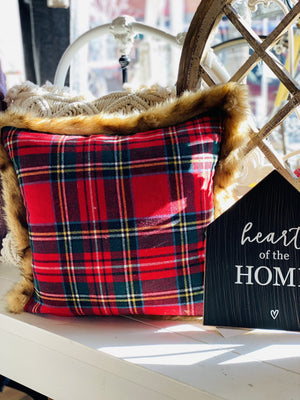HAVE IT YOUR WAY PLAID PILLOW-RED - Infinity Raine
