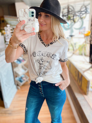 RODEO GRAPHIC TEE WITH LEOPARD PRINT TRIM-IVORY - Infinity Raine